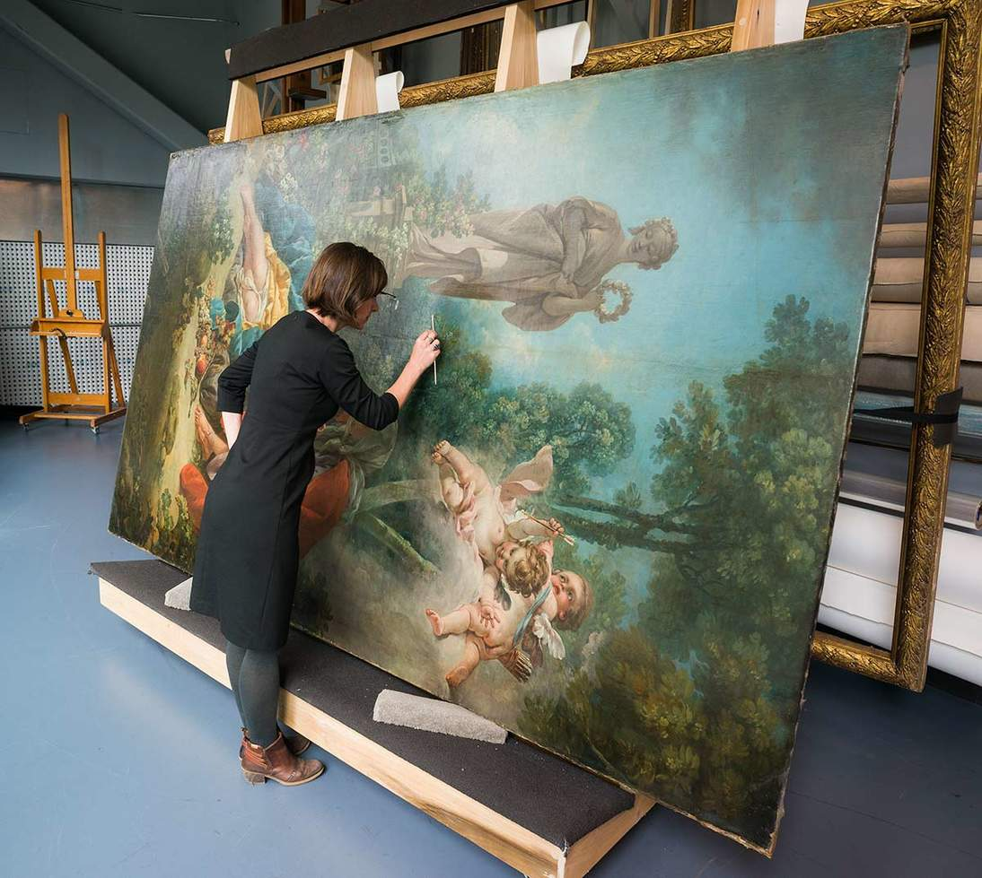"""Boucher's """"Vertimnus and Pomona"""" undergoes study in the Museums' paintings conservation lab."""