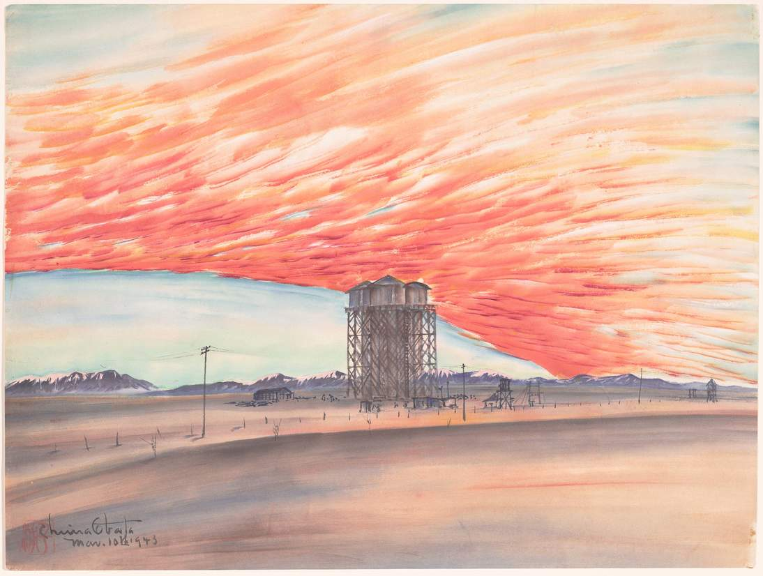 "Chiura Obata, ""Sunset, Watertower, March 10, 1943,"" 1943. Ink, color, and mica on paper, 15 1/4 x 20 1/2 in. (38.7 x 52.1 cm). Fine Arts Museums of San Francisco, Museum purchase, Gift of the Achenbach Graphic Arts Council, 2001.28.1"