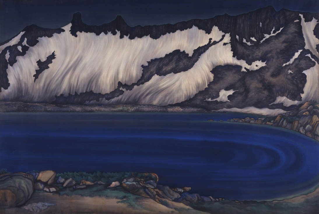 "Chiura Obata, ""Lake Basin in the High Sierra,"" ca. 1930. Ink and color on silk mounted on paper, 69 1/2 x 102 1/2 in. (176.5 x 260.4 cm). Fine Arts Museums of San Francisco, Museum purchase, Dr. Leland A. and Gladys K. Barber Fund, 2000.71.1"