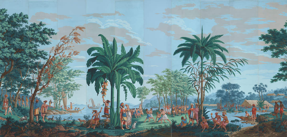 """Joseph Dufour, printer, and Jean-Gabriel Charvet, designer, """"Les Sauvages de la Mer Pacifique"""" (""""Native Peoples of the Pacific Ocean"""") (detail), ca. 1804–1806. Block-printed watercolor on paper, each panel: 99 x 211/4 in. (251.5 x 54 cm). Fine Arts Museums of San Francisco, Museum purchase, Gift of Georgia M. Worthington and the Fine Arts Museums Trustees Fund, 77.6.1–20 (panels 8 and 16 reproductions by Garth Benton)"""