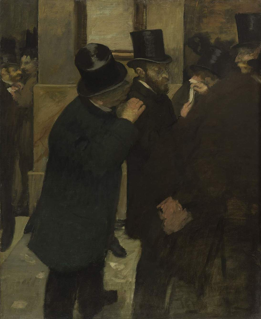 "Edgar Degas, ""Portraits at the Stock Exchange,"" 1878-1879. Oil on canvas, 39 in × 32 in. (100 cm × 82 cm). Musée d'Orsay, Paris, RF 2444"