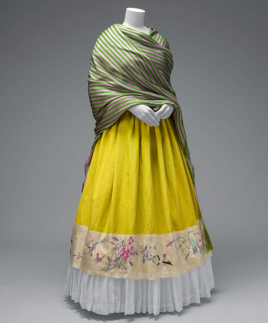 Rebozo with rapacelo (knotted fringe); silk skirt with Chinese embroidered panel and holán (ruffle). Diego Rivera and Frida Kahlo Archives, Banco de México, Fiduciary of the Trust of the Diego Rivera and Frida Kahlo Museums. Photograph: Javier Hinojosa