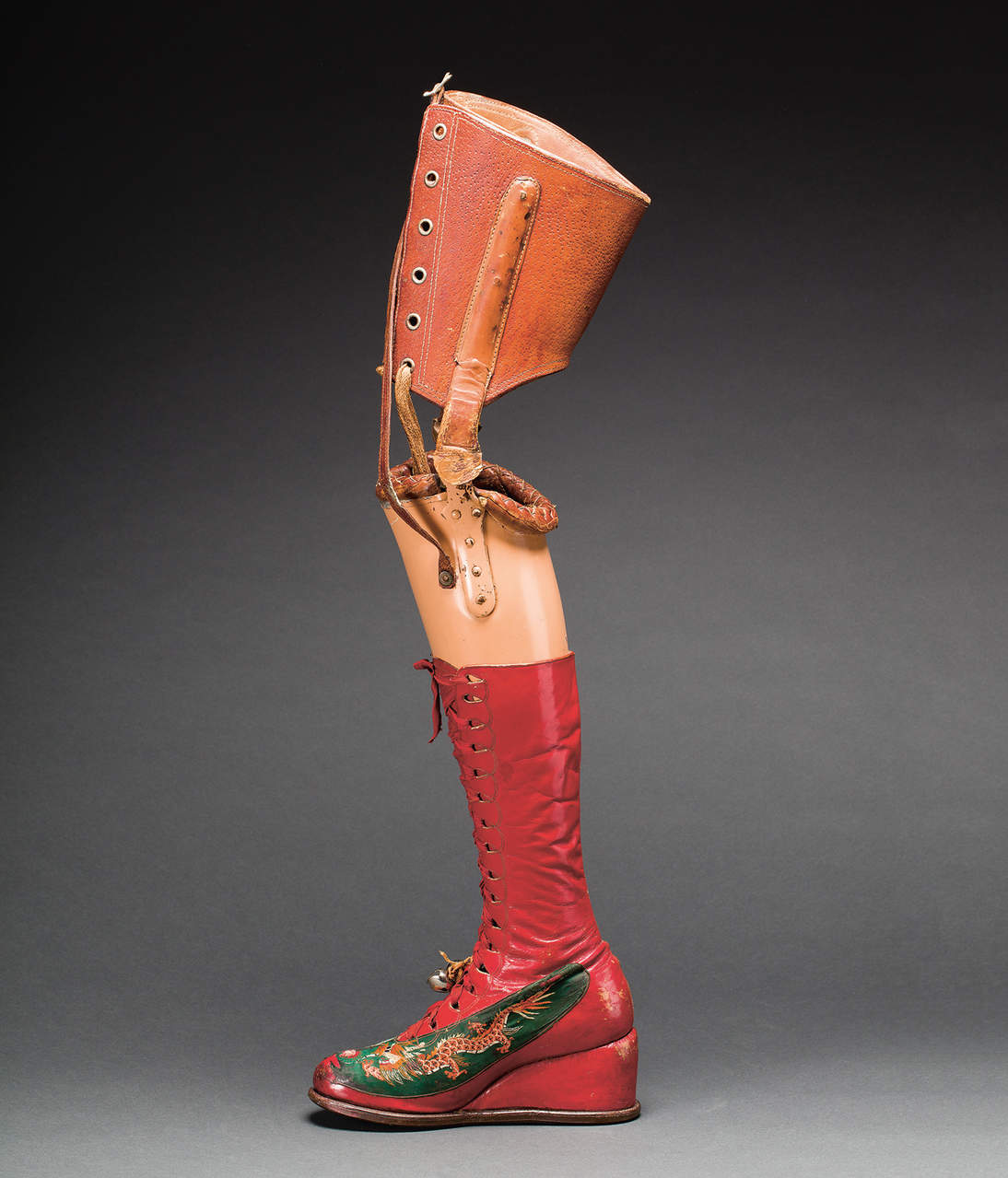 Prosthetic leg with leather boot. Diego Rivera and Frida Kahlo Archives, Banco de México, Fiduciary of the Trust of the Diego Rivera and Frida Kahlo Museums. Photograph: Javier Hinojosa
