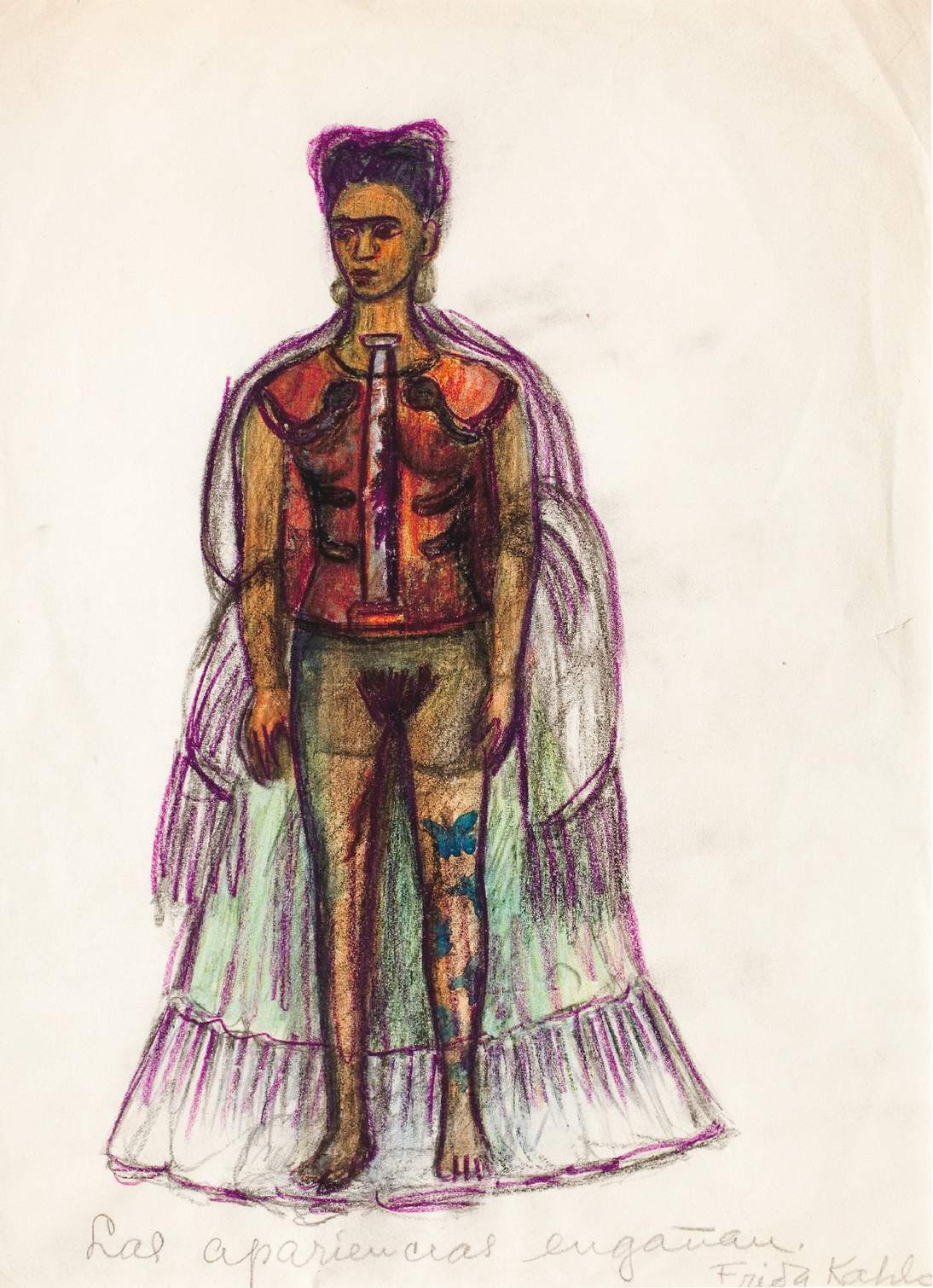 "Frida Kahlo, ""Appearances Can Be Deceiving,"" no date. Charcoal and pencil on paper, 11 ⅜ x 8 ¼ in. (29 x 21 cm). Museo Frida Kahlo © 2020 Banco de México Diego Rivera & Frida Kahlo Museums Trust. Av. 5 de Mayo No. 2, Col. Centro, alc. Cuauhtémoc, C.P. 06000, Mexico City / Artists Rights Society (ARS), New York"