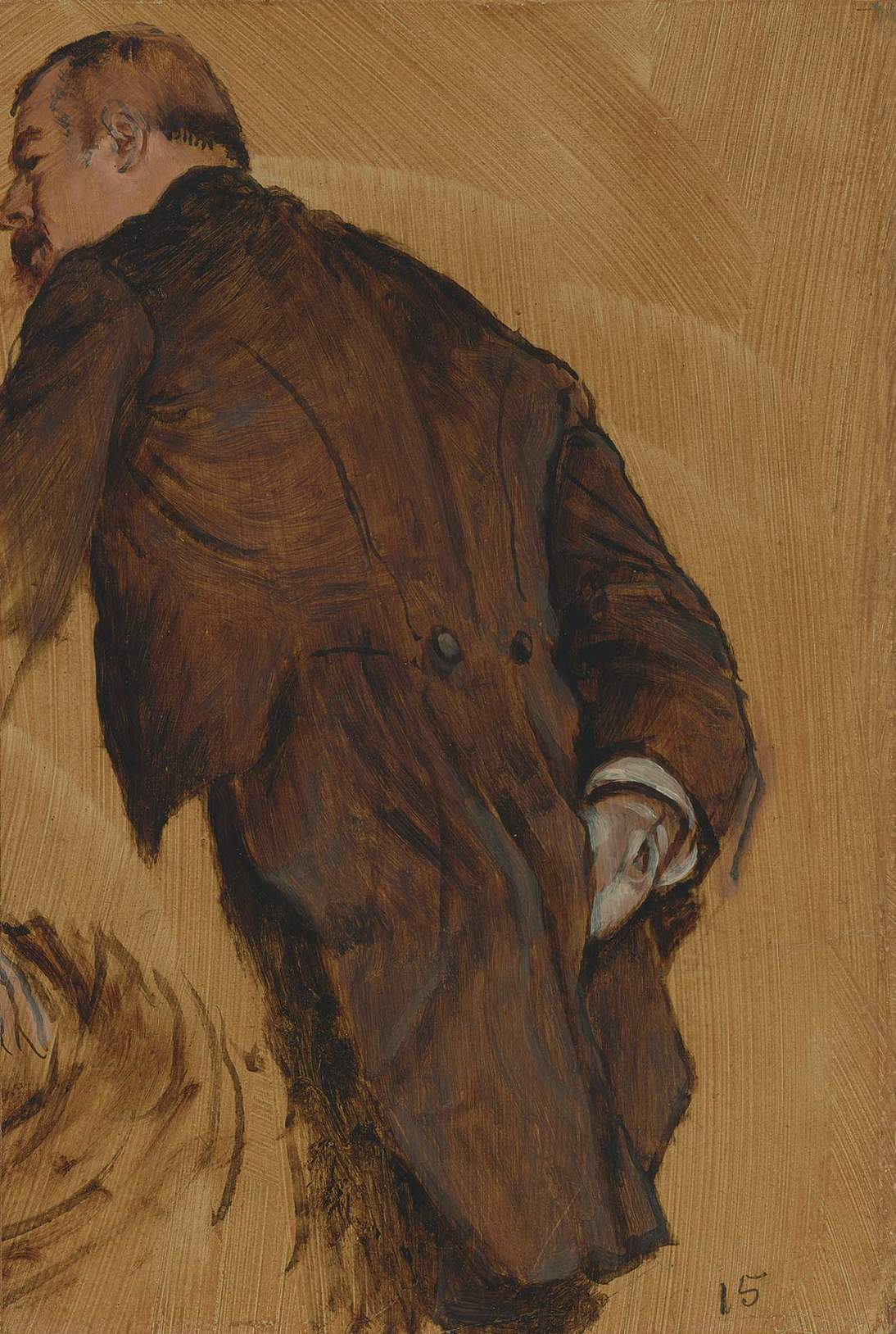 """Attributed to Edgar Degas, """"The Impresario,"""" ca. 1877. Oil on paper board, 15 x 10 in. (38.1 x 25.4 cm). Fine Arts Museums of San Francisco, Gift of Mr. and Mrs. Louis A. Benoist, 1956.72"""