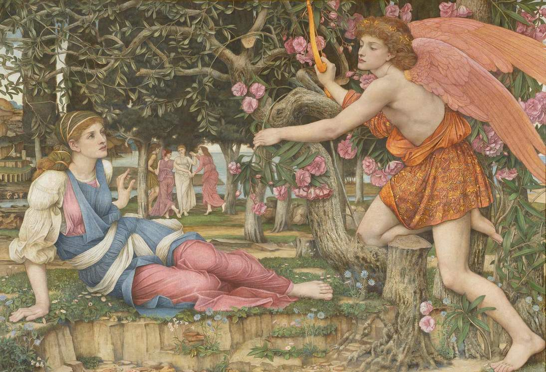 """John Roddam Spencer Stanhope, """"Love and the Maiden"""", 1877. Oil, gold paint, and gold leaf on canvas, 54 x 79 in. (137.2 x 200.7 cm). Fine Arts Museums of San Francisco, Museum purchase, European Art Trust Fund, Grover A. Magnin Bequest Fund and Dorothy Spreckels Munn Bequest Fund (2002.176)"""