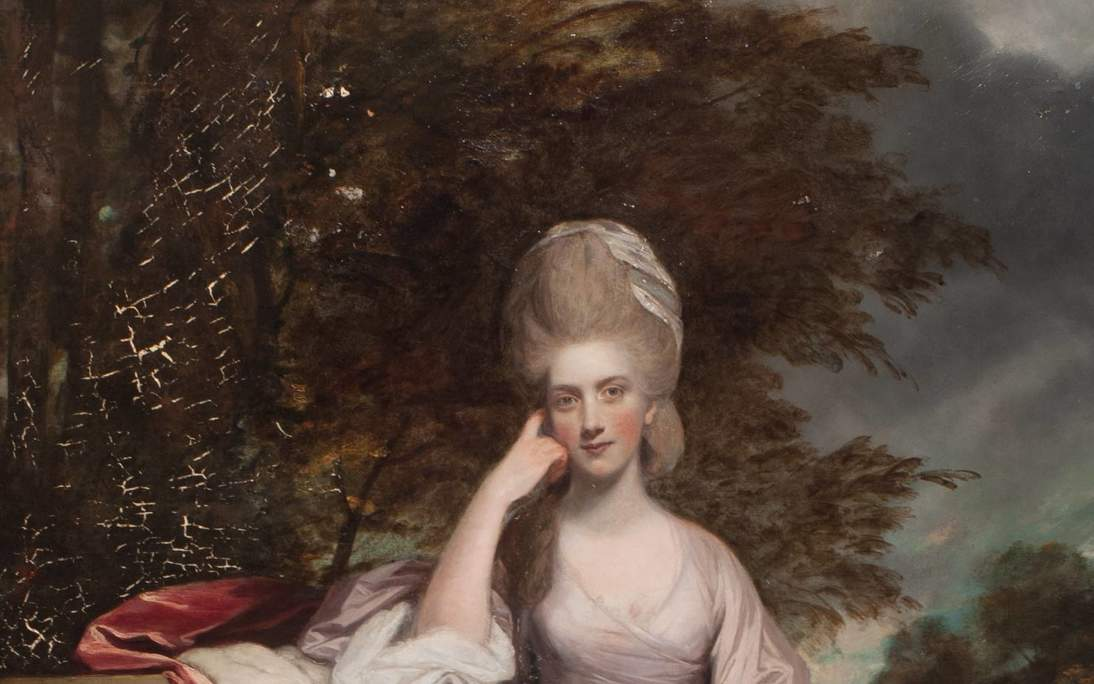 """Sir Joshua Reynolds, """"Anne, Viscountess Townshend, Later Marchioness Townshend"""" (detail), 1779–1780. Oil on canvas, 95 x 58 in. (241.3 x 147.3 cm). Fine Arts Museums of San Francisco, Roscoe and Margaret Oakes Collection, 75.2.13. During conservation, the painting received treatment with varnish, and later retouching removed exposing cracks that occurred in the drying of the paint."""