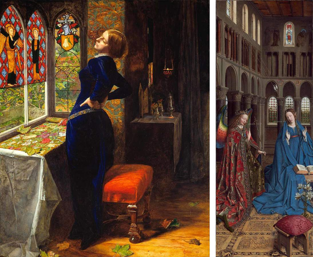 """Left: John Everett Millais, """"Mariana"""", 1851. Oil on panel, 23  1/2 x 19 1/2 in. (59.7 x 49.5 cm). Tate, London, Accepted by HM Government in lieu of tax and allocated to the Tate Gallery (1999, T07553). © Tate, London 2018; Right: Jan van Eyck, """"The Annunciation"""", ca. 1434/1436. Oil on canvas transferred from panel, 35 1/2 x 13 3/8 in. (90.2 x 34.1 cm). National Gallery of Art, Washington DC, Andrew W. Mellon Collection, 1937.1."""