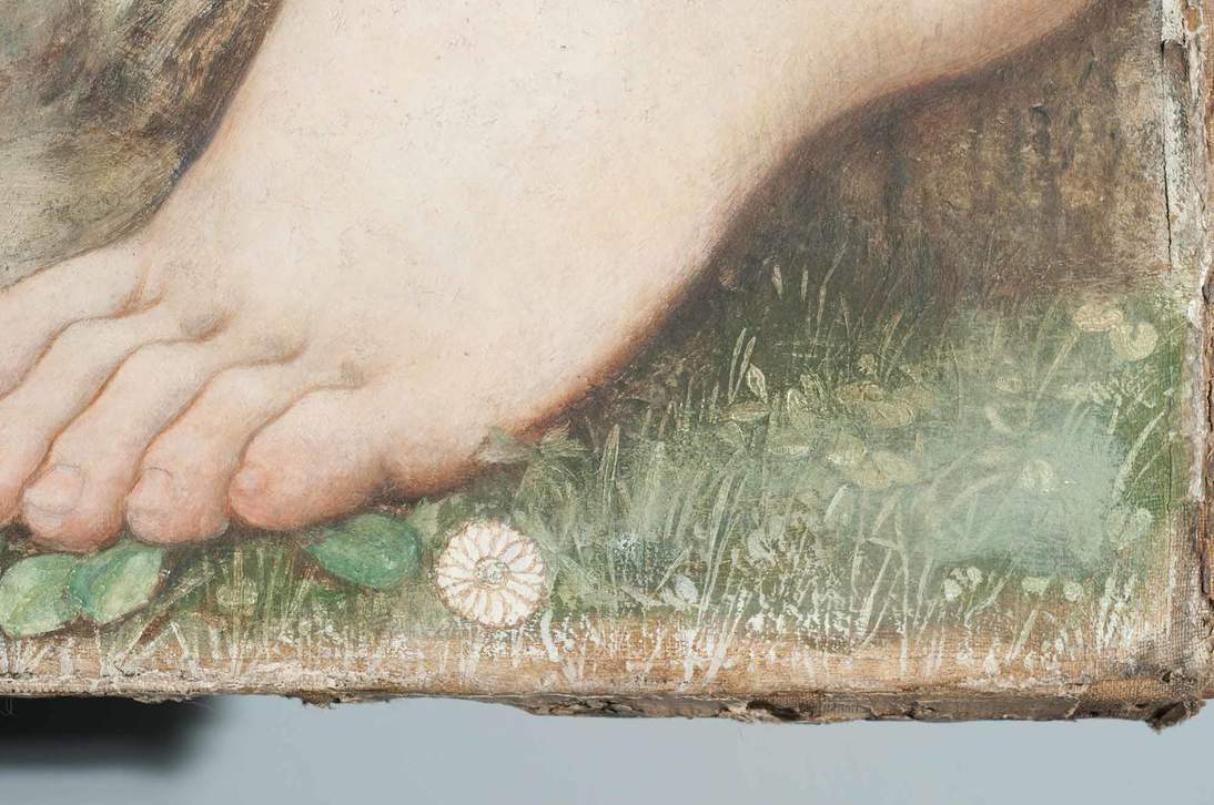 """Detail of """"Love and the Maiden"""" showing white brushmarks of the textural underlayer and a round unpainted flower with the brown drawing still visible"""