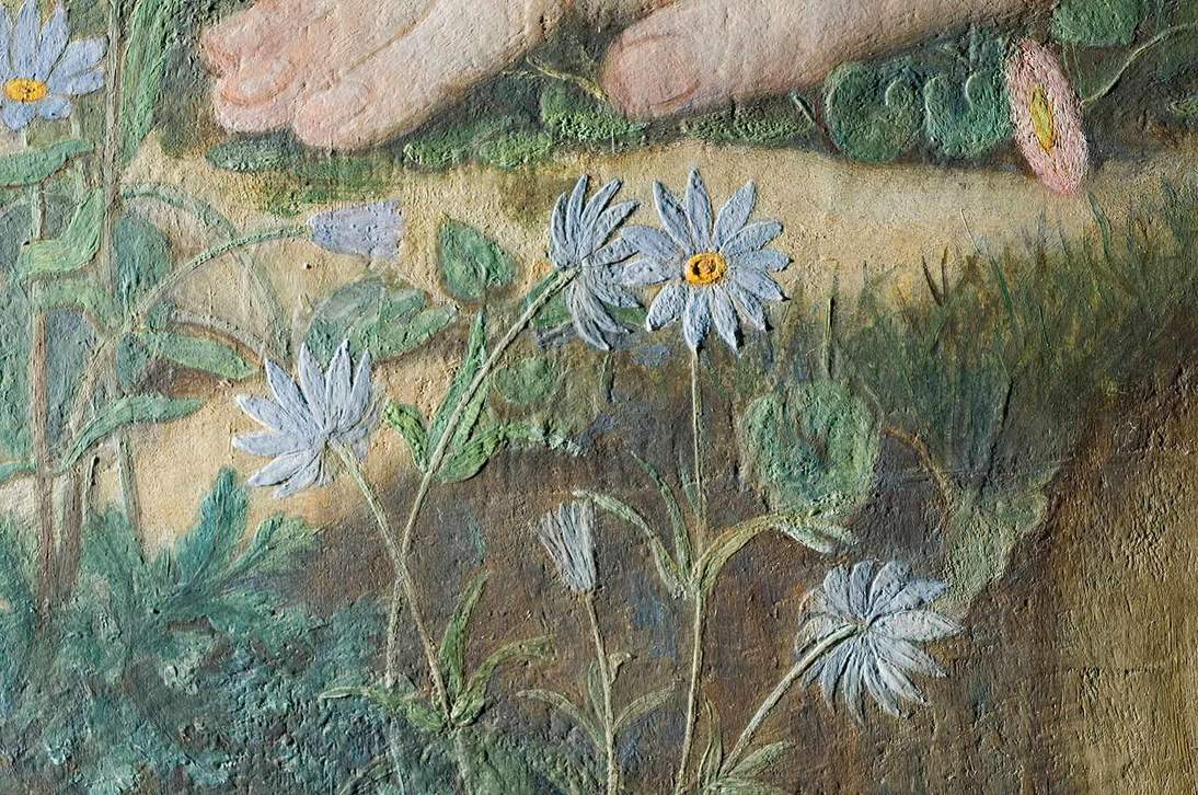 """""""Love and the Maiden"""" detail in raking light showing texture created by the thick white underpaint."""